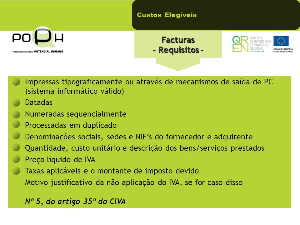 Facturas - Requisitos -