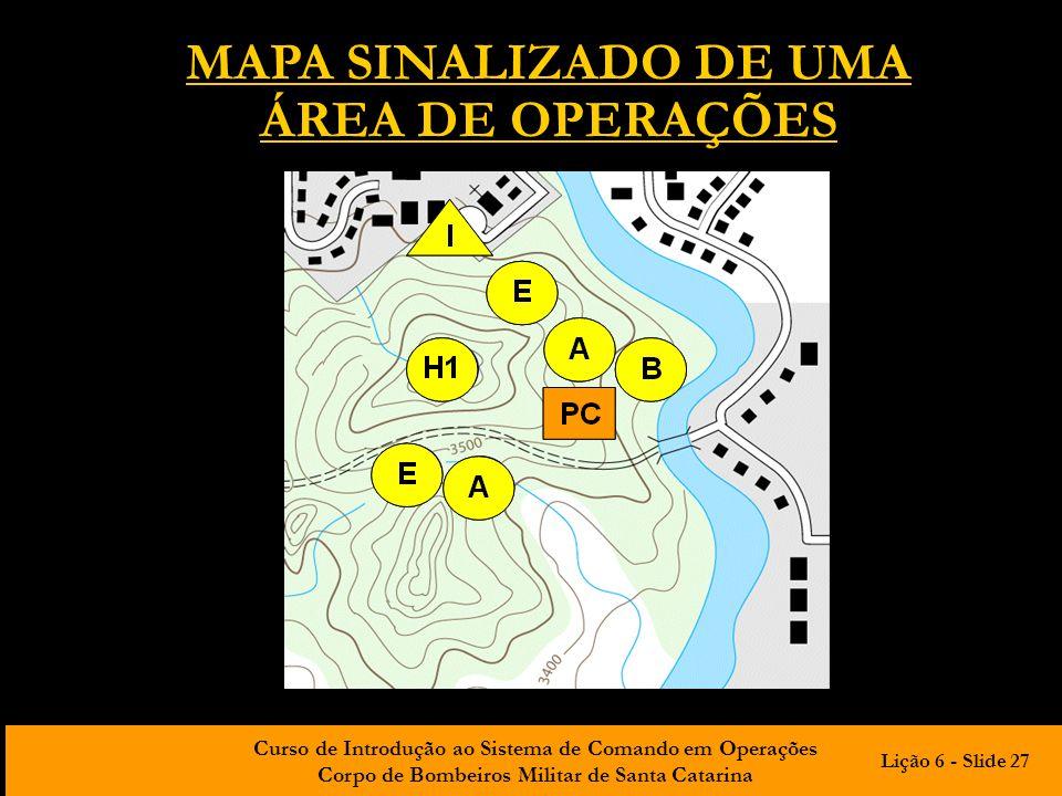 MAPA SINALIZADO DE UMA ÁREA DE OPERAÇÕES