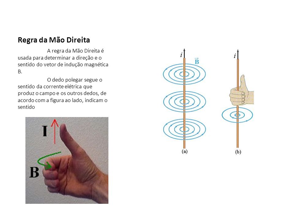 Regra da Mão Direita A regra da Mão Direita é usada para determinar a direção e o sentido do vetor de indução magnética B.