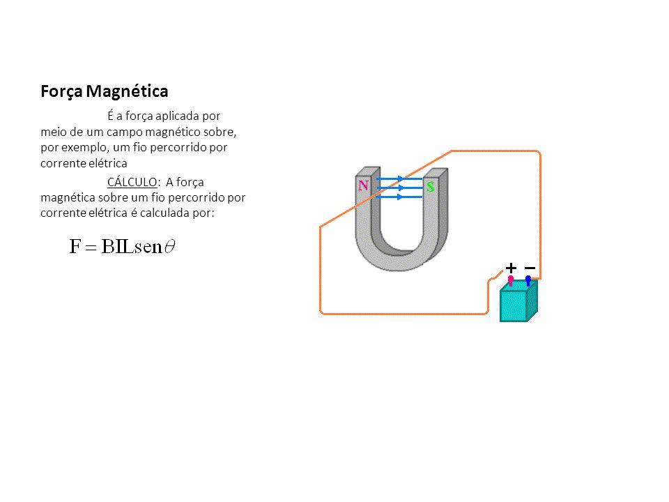 Força Magnética É a força aplicada por meio de um campo magnético sobre, por exemplo, um fio percorrido por corrente elétrica.