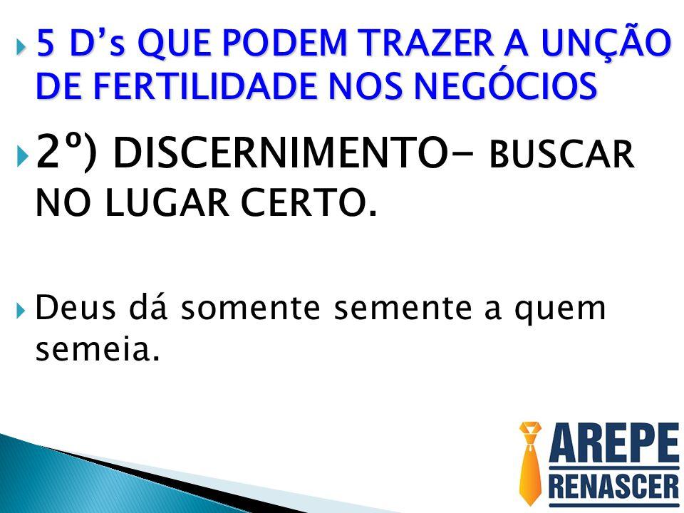 2º) DISCERNIMENTO- BUSCAR NO LUGAR CERTO.