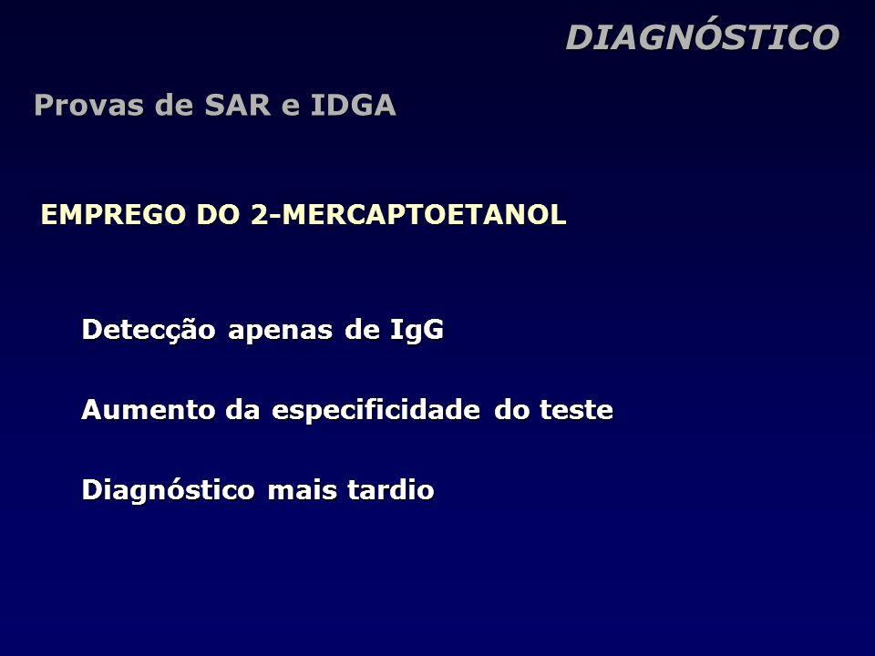 DIAGNÓSTICO Provas de SAR e IDGA EMPREGO DO 2-MERCAPTOETANOL