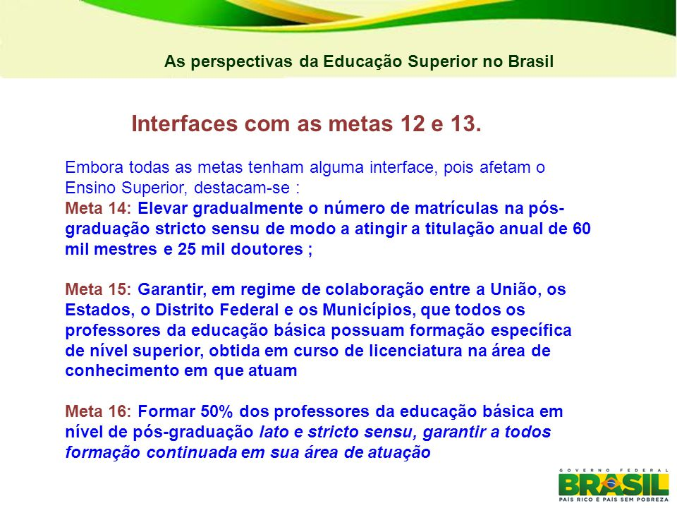 Interfaces com as metas 12 e 13.
