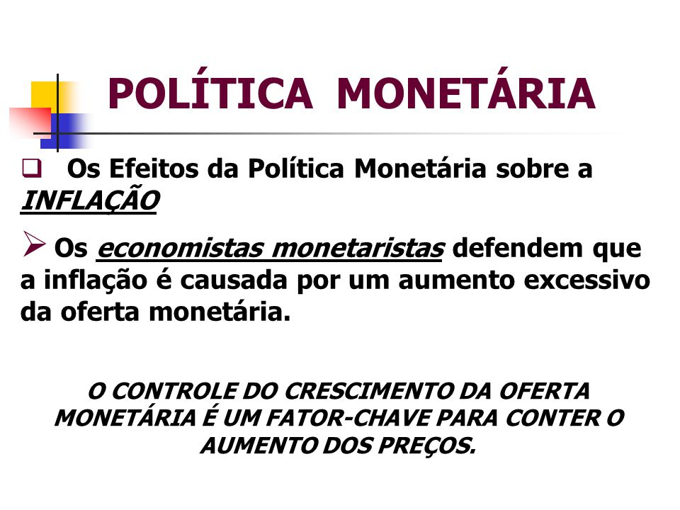POLÍTICA MONETÁRIA Os Efeitos da Política Monetária sobre a INFLAÇÃO
