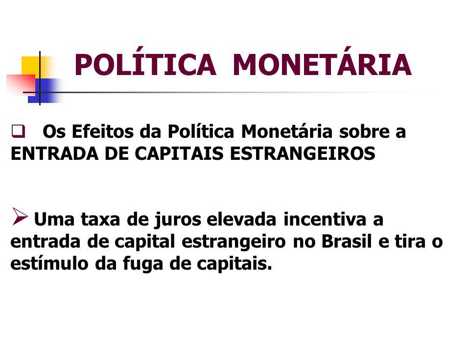 POLÍTICA MONETÁRIA Os Efeitos da Política Monetária sobre a ENTRADA DE CAPITAIS ESTRANGEIROS.