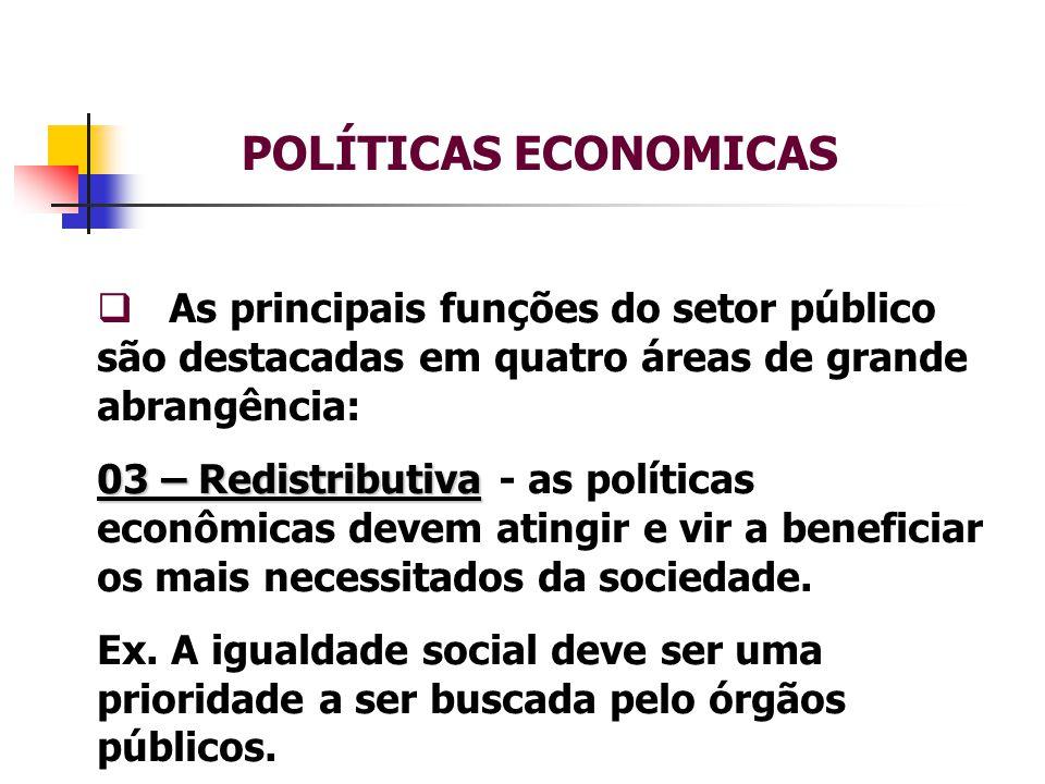 POLÍTICAS ECONOMICAS As principais funções do setor público são destacadas em quatro áreas de grande abrangência: