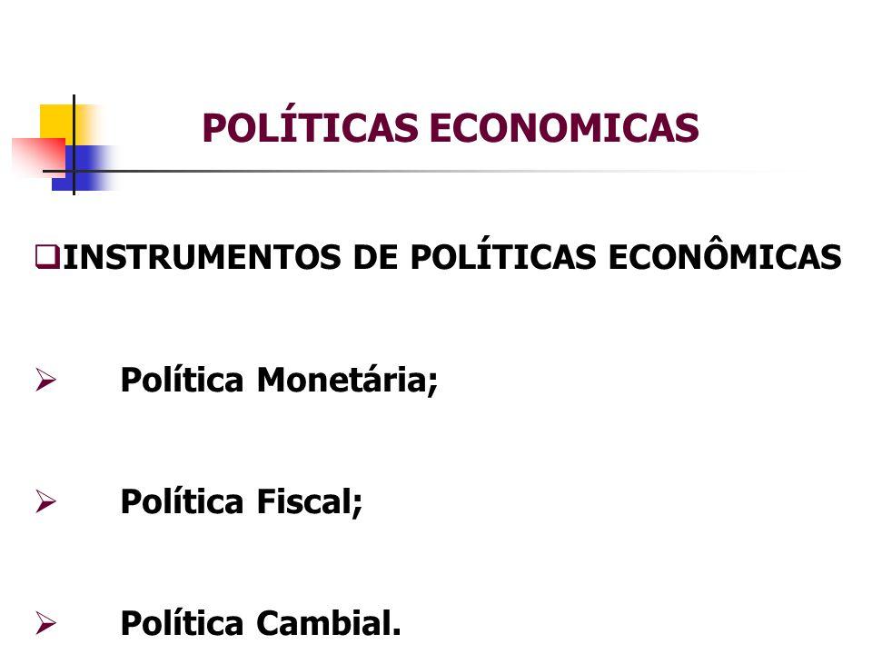 POLÍTICAS ECONOMICAS INSTRUMENTOS DE POLÍTICAS ECONÔMICAS