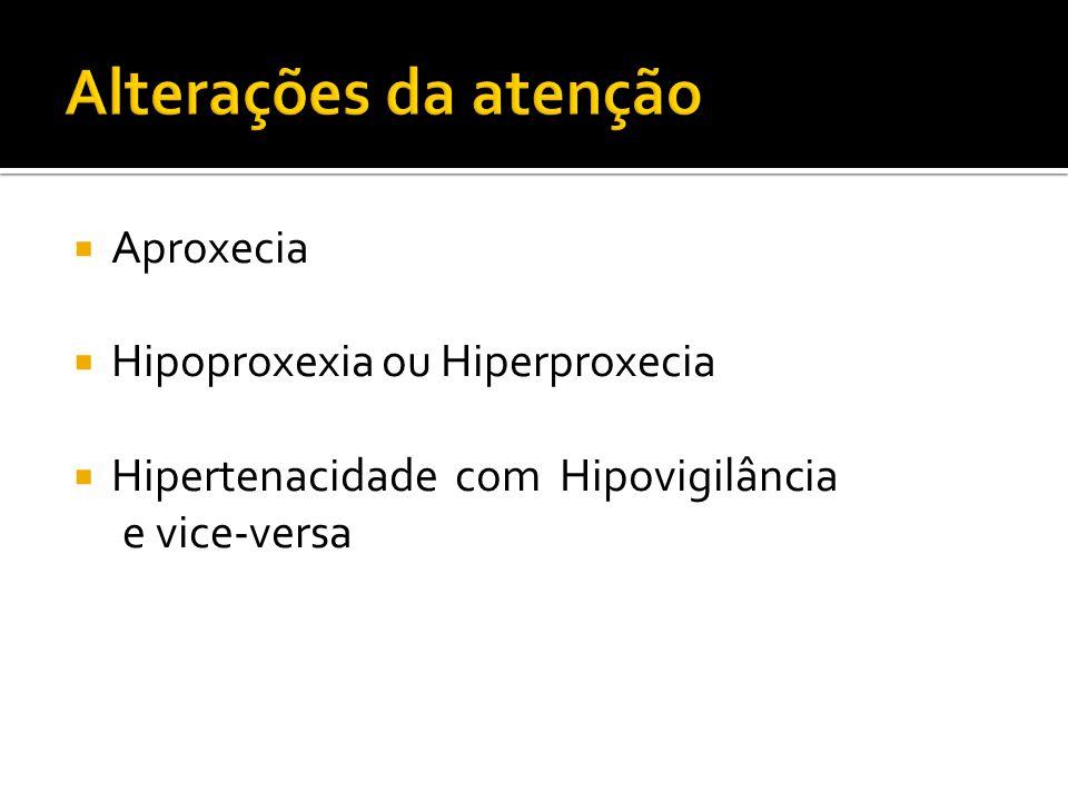 Alterações da atenção Aproxecia Hipoproxexia ou Hiperproxecia