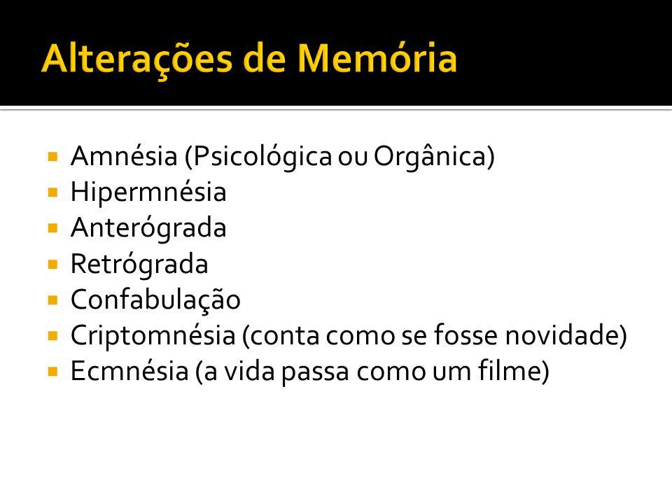 Alterações de Memória Amnésia (Psicológica ou Orgânica) Hipermnésia