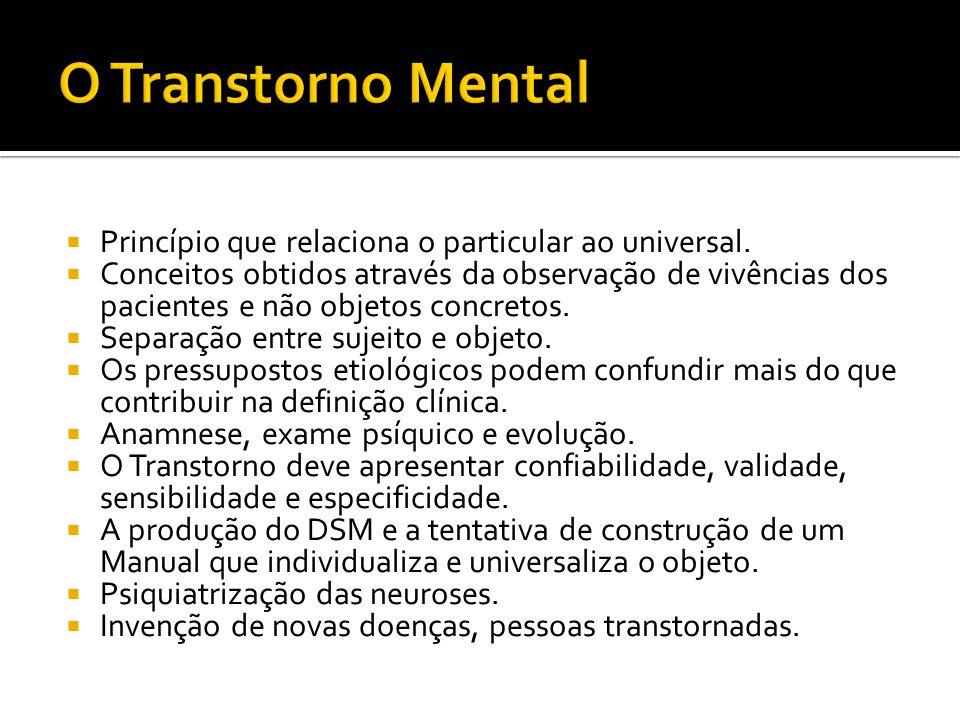 O Transtorno Mental Princípio que relaciona o particular ao universal.