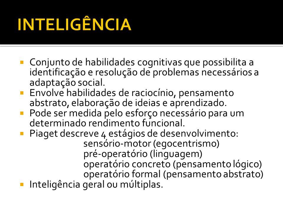 INTELIGÊNCIA Conjunto de habilidades cognitivas que possibilita a identificação e resolução de problemas necessários a adaptação social.