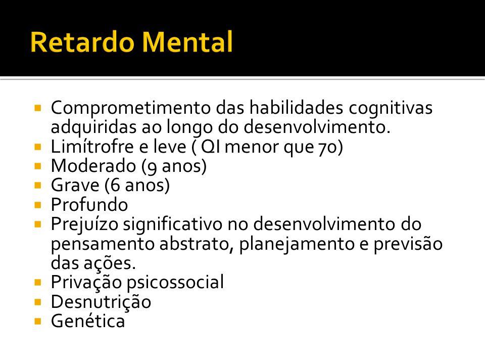 Retardo Mental Comprometimento das habilidades cognitivas adquiridas ao longo do desenvolvimento. Limítrofre e leve ( QI menor que 70)
