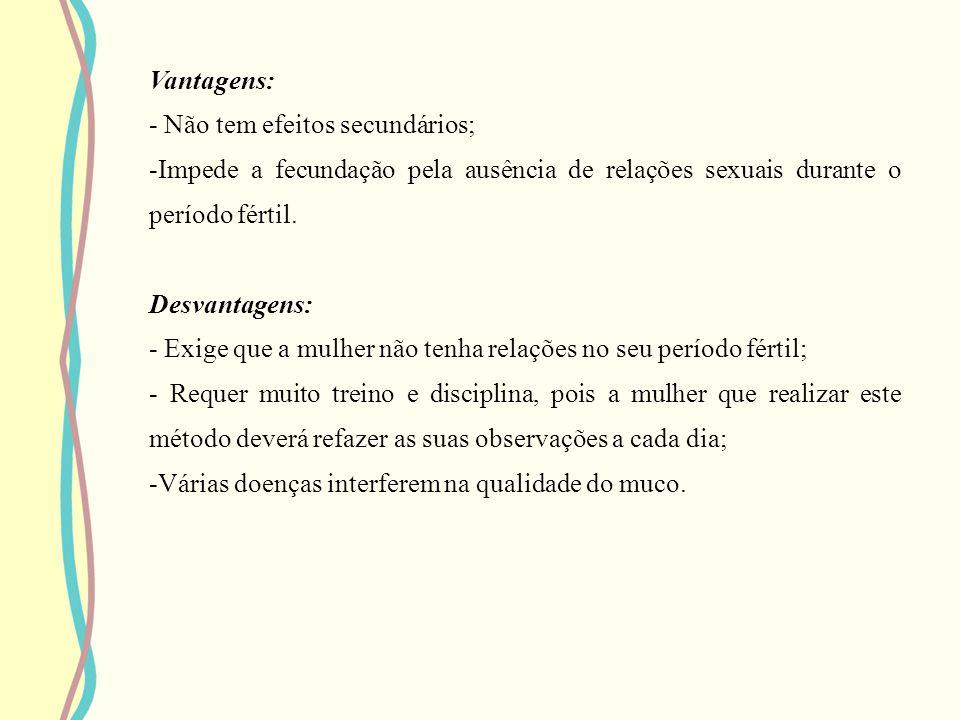 Vantagens: - Não tem efeitos secundários; Impede a fecundação pela ausência de relações sexuais durante o período fértil.