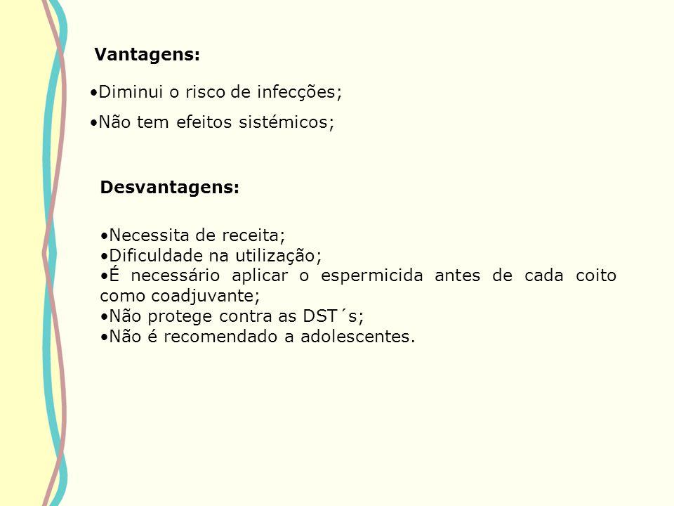 Vantagens: Diminui o risco de infecções; Não tem efeitos sistémicos; Desvantagens: Necessita de receita;