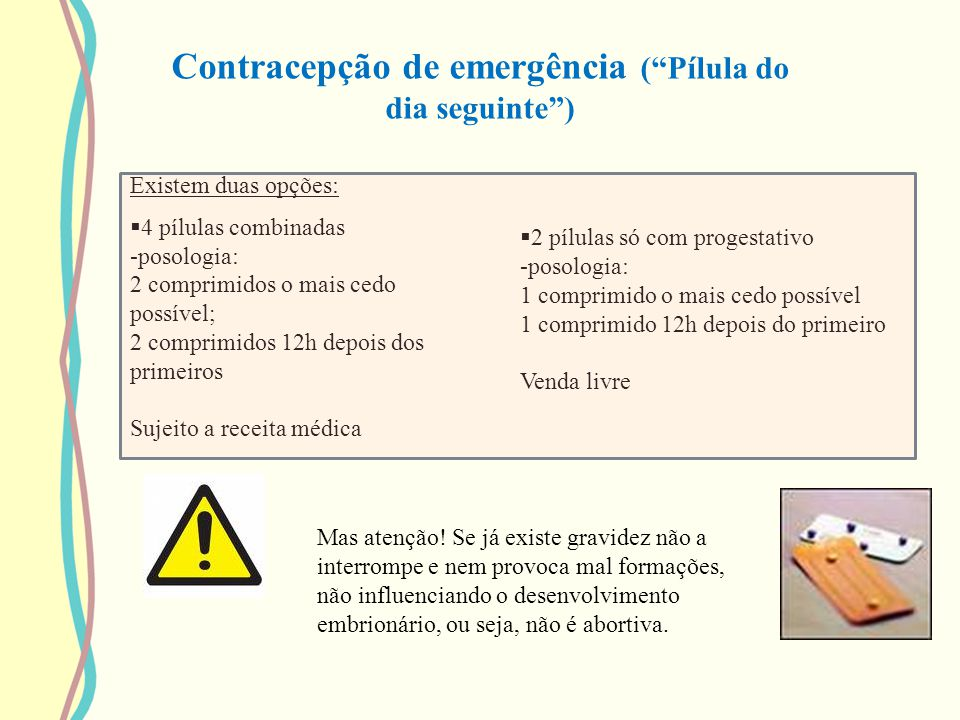 Contracepção de emergência ( Pílula do dia seguinte )