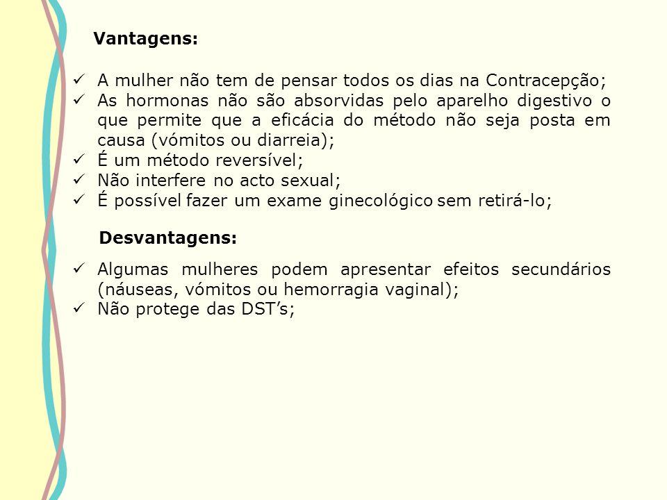 Vantagens: A mulher não tem de pensar todos os dias na Contracepção;