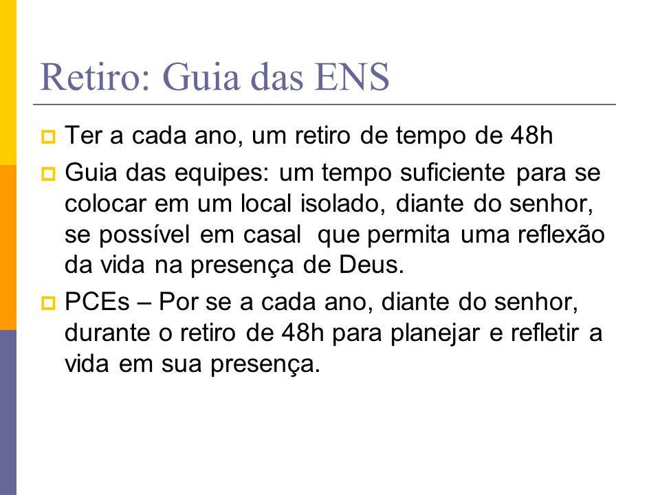 Retiro: Guia das ENS Ter a cada ano, um retiro de tempo de 48h