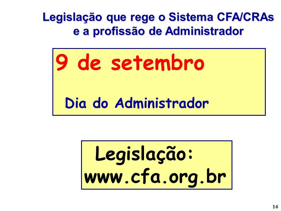 Legislação que rege o Sistema CFA/CRAs e a profissão de Administrador