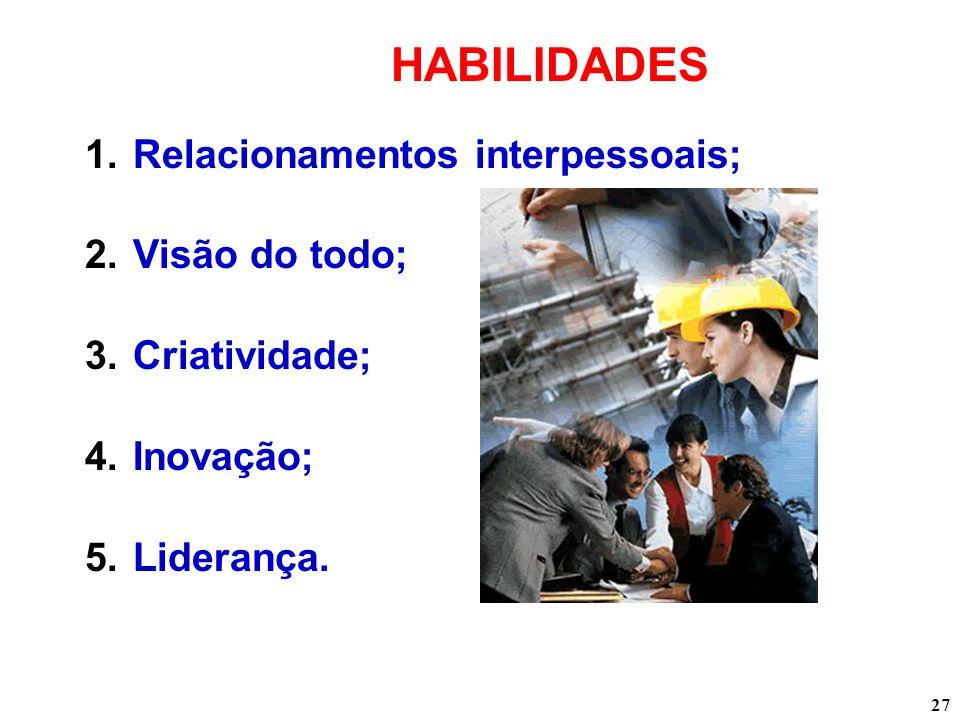HABILIDADES Relacionamentos interpessoais; Visão do todo;