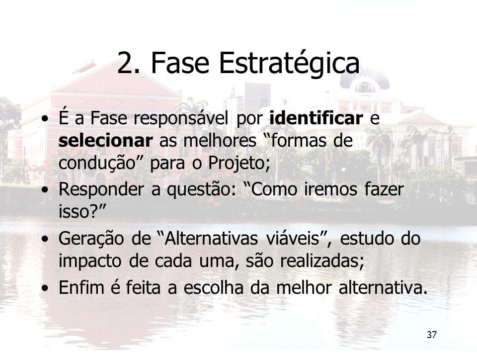 2. Fase Estratégica É a Fase responsável por identificar e selecionar as melhores formas de condução para o Projeto;