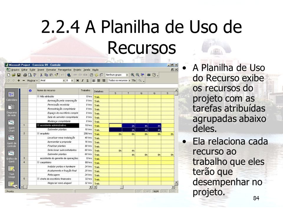 2.2.4 A Planilha de Uso de Recursos