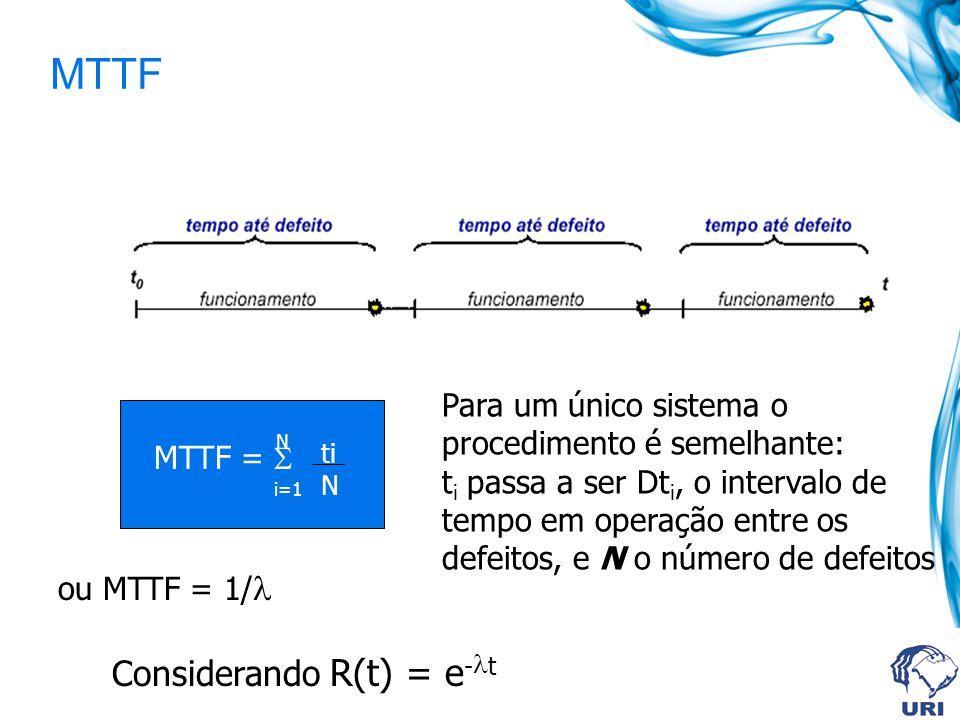 MTTF Considerando R(t) = e-t Para um único sistema o