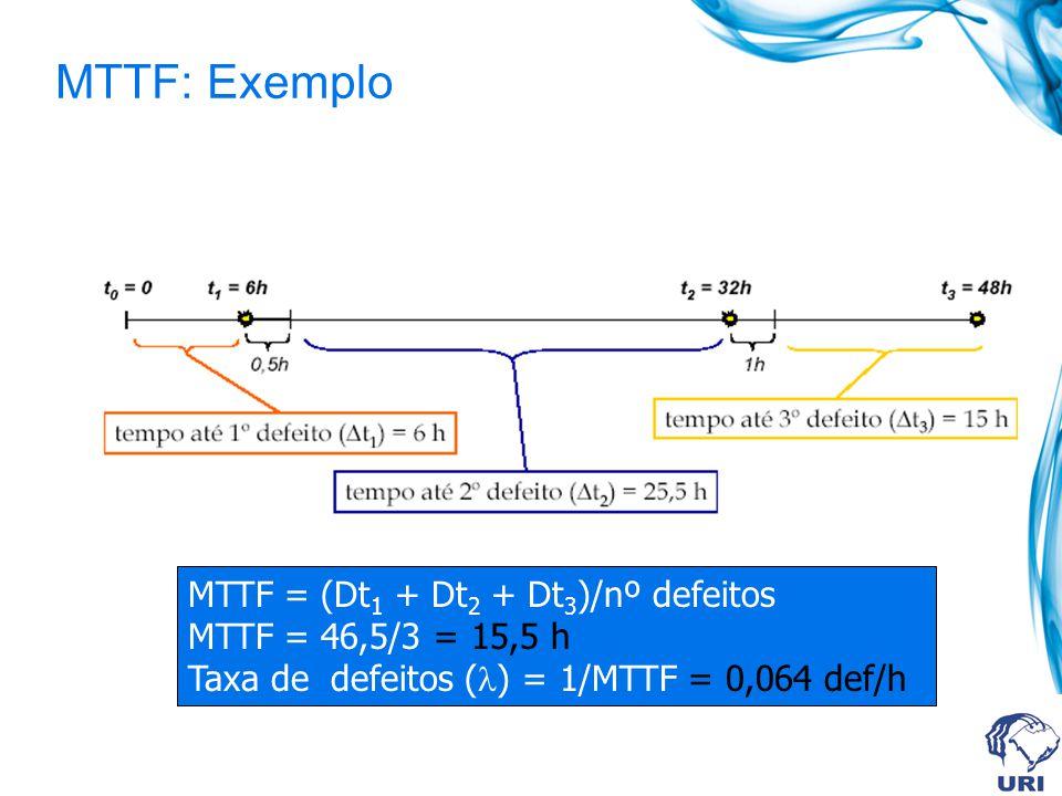 MTTF: Exemplo MTTF = (Dt1 + Dt2 + Dt3)/nº defeitos