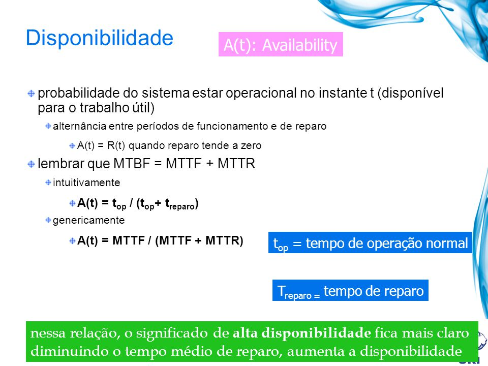 Disponibilidade A(t): Availability