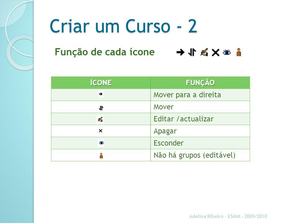 Criar um Curso - 2 Função de cada ícone ÍCONE FUNÇÃO