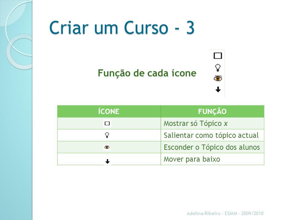 Criar um Curso - 3 Função de cada ícone ÍCONE FUNÇÃO