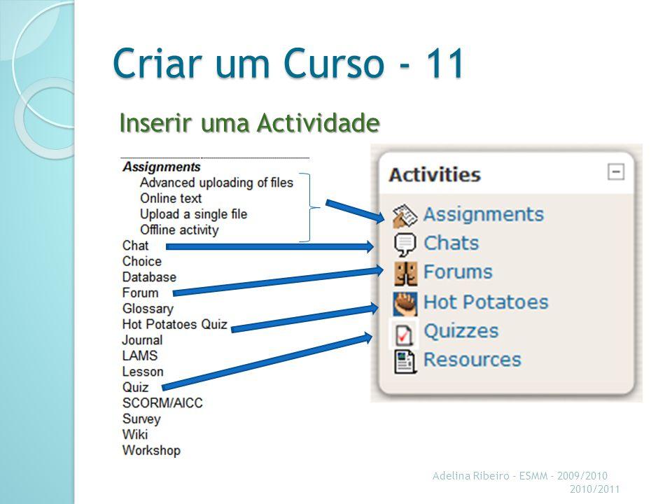 Criar um Curso - 11 Inserir uma Actividade