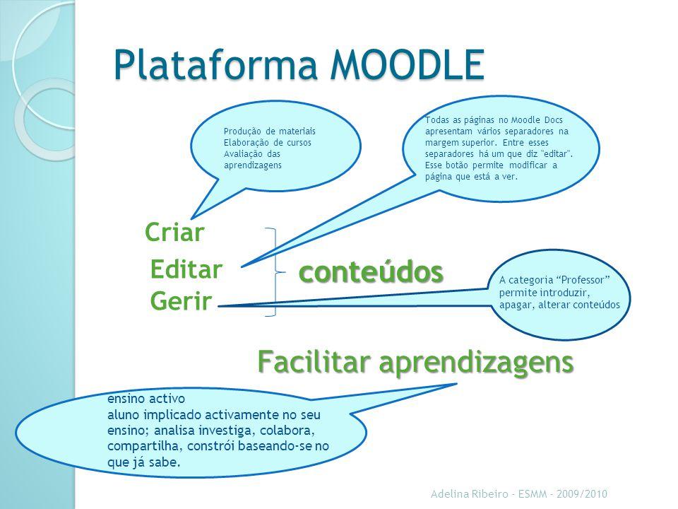 Plataforma MOODLE conteúdos Facilitar aprendizagens Criar Editar Gerir