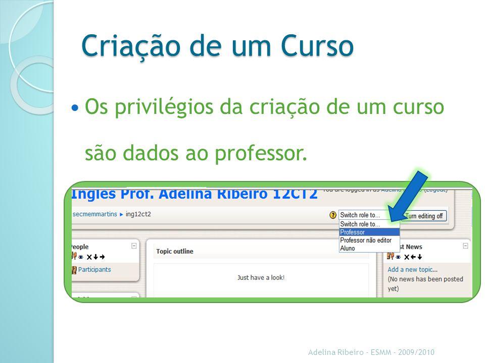 Criação de um Curso Os privilégios da criação de um curso são dados ao professor. Sugestão: Adicione aqui as notas de orador.