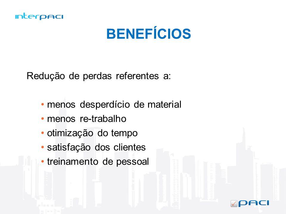 BENEFÍCIOS Redução de perdas referentes a: