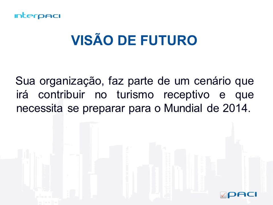 VISÃO DE FUTURO Sua organização, faz parte de um cenário que irá contribuir no turismo receptivo e que necessita se preparar para o Mundial de 2014.
