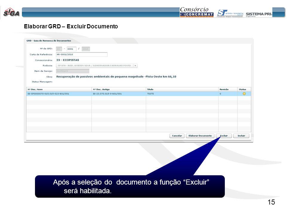 Elaborar GRD – Excluir Documento