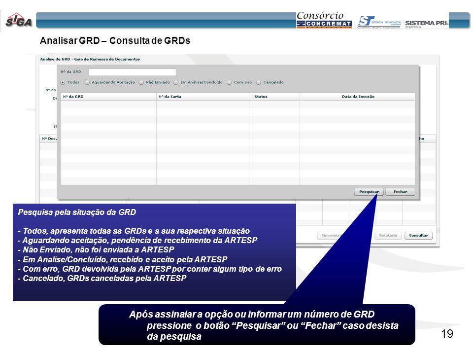 Analisar GRD – Consulta de GRDs