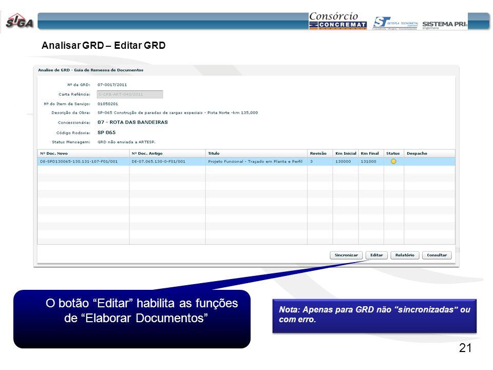 Analisar GRD – Editar GRD