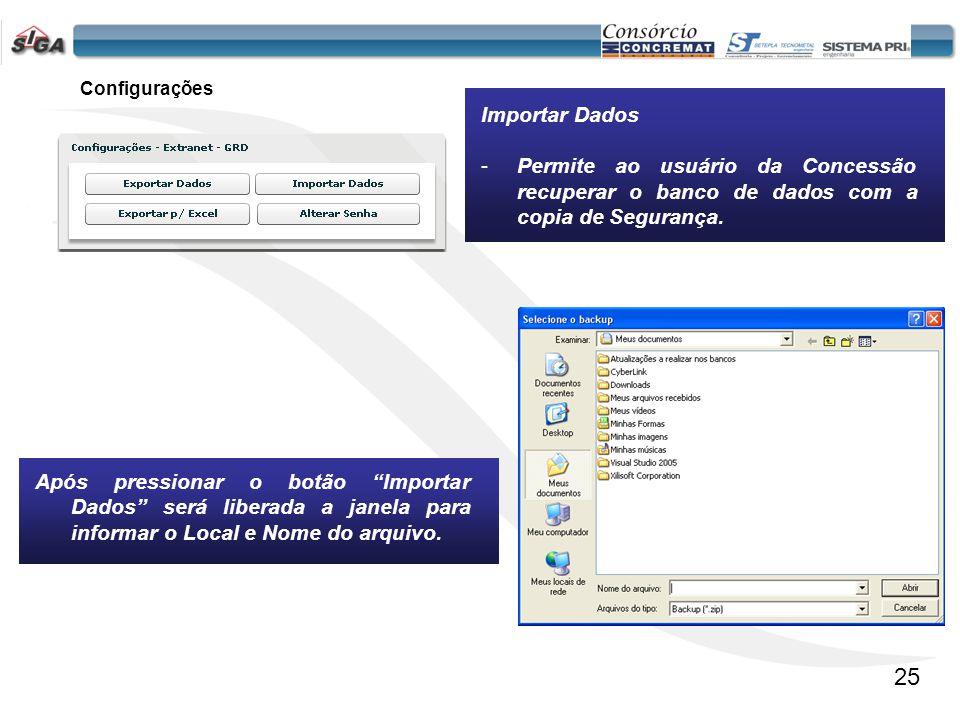 Configurações Importar Dados. Permite ao usuário da Concessão recuperar o banco de dados com a copia de Segurança.