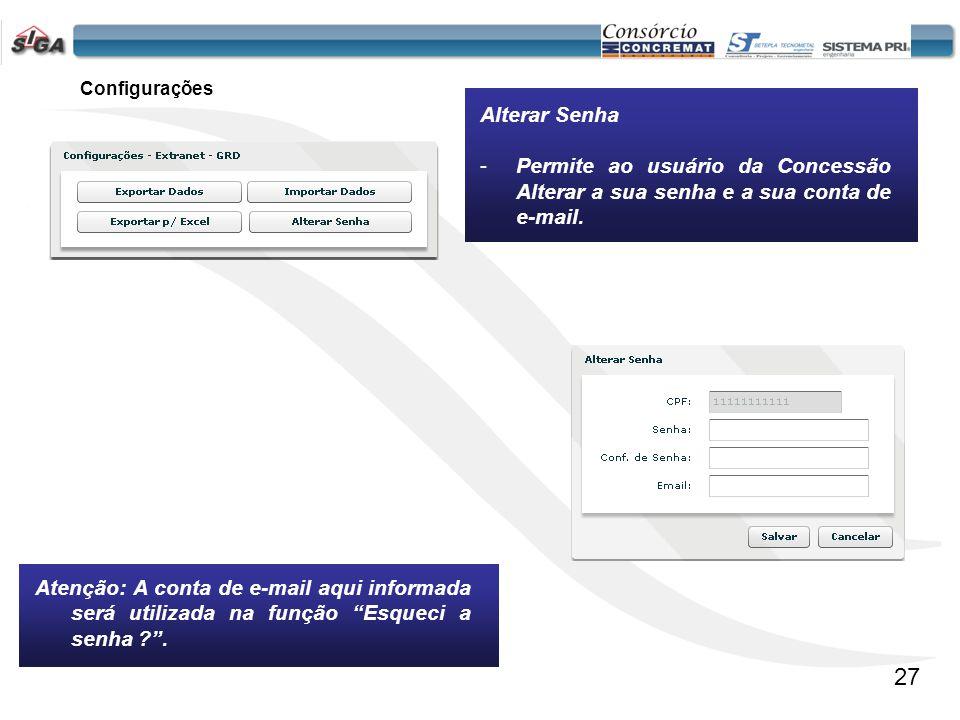 Configurações Alterar Senha. Permite ao usuário da Concessão Alterar a sua senha e a sua conta de e-mail.