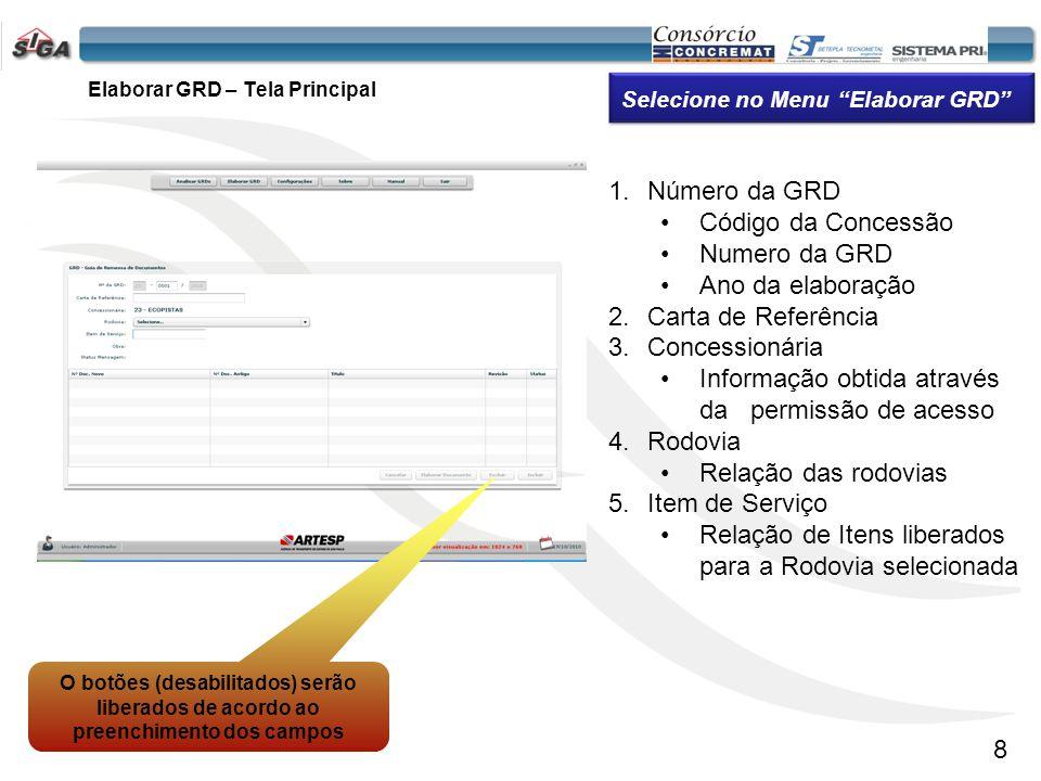 Elaborar GRD – Tela Principal