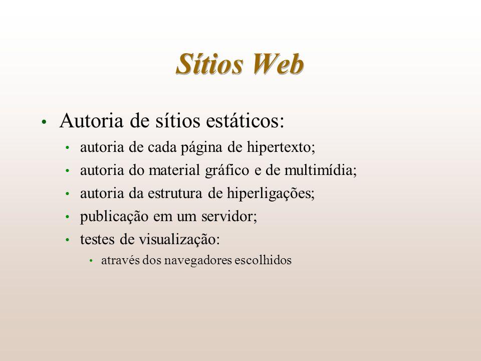 Sítios Web Autoria de sítios estáticos: