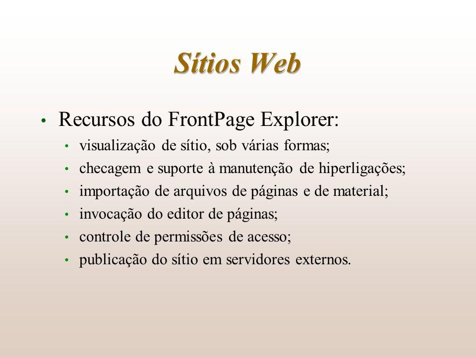 Sítios Web Recursos do FrontPage Explorer: