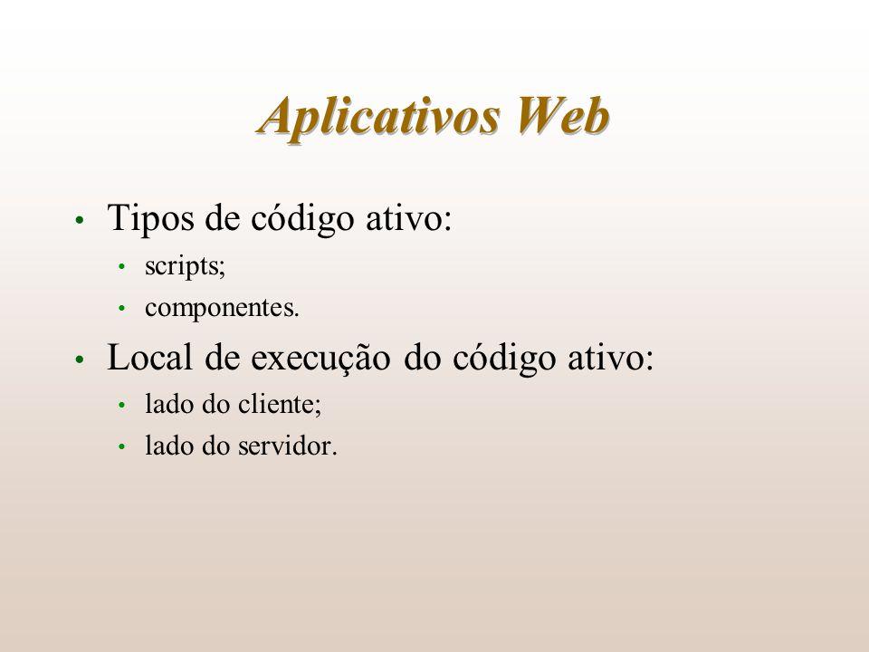 Aplicativos Web Tipos de código ativo: