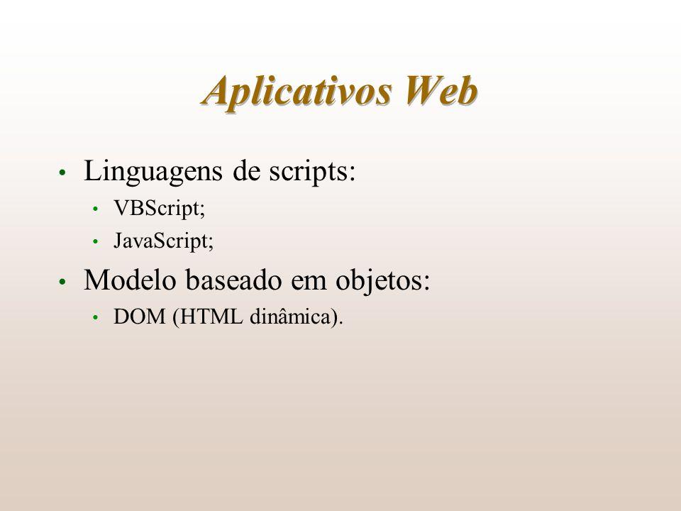 Aplicativos Web Linguagens de scripts: Modelo baseado em objetos: