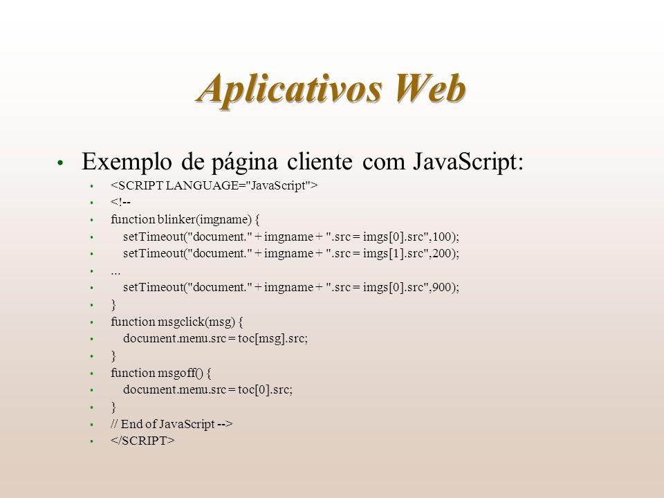 Aplicativos Web Exemplo de página cliente com JavaScript: