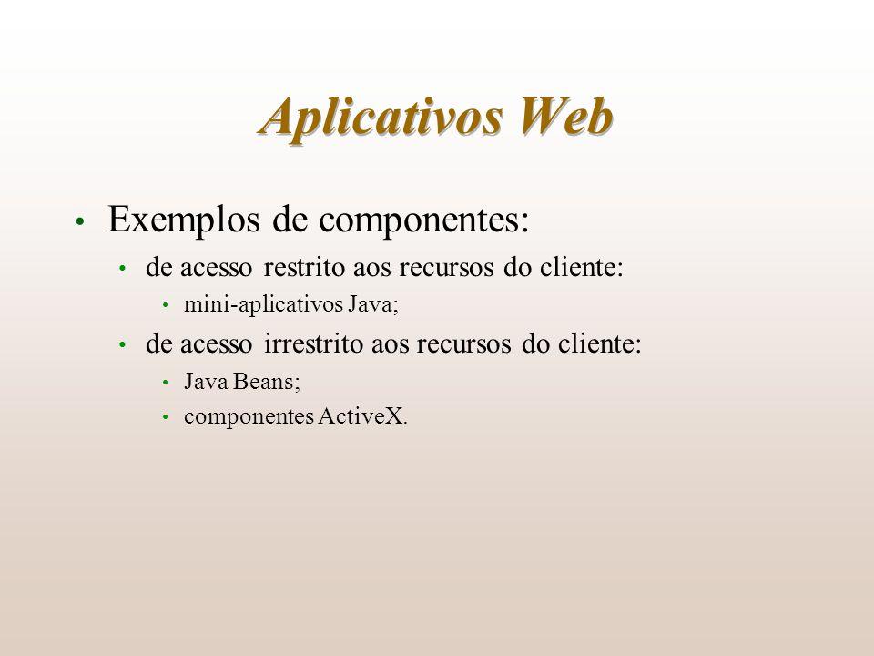 Aplicativos Web Exemplos de componentes:
