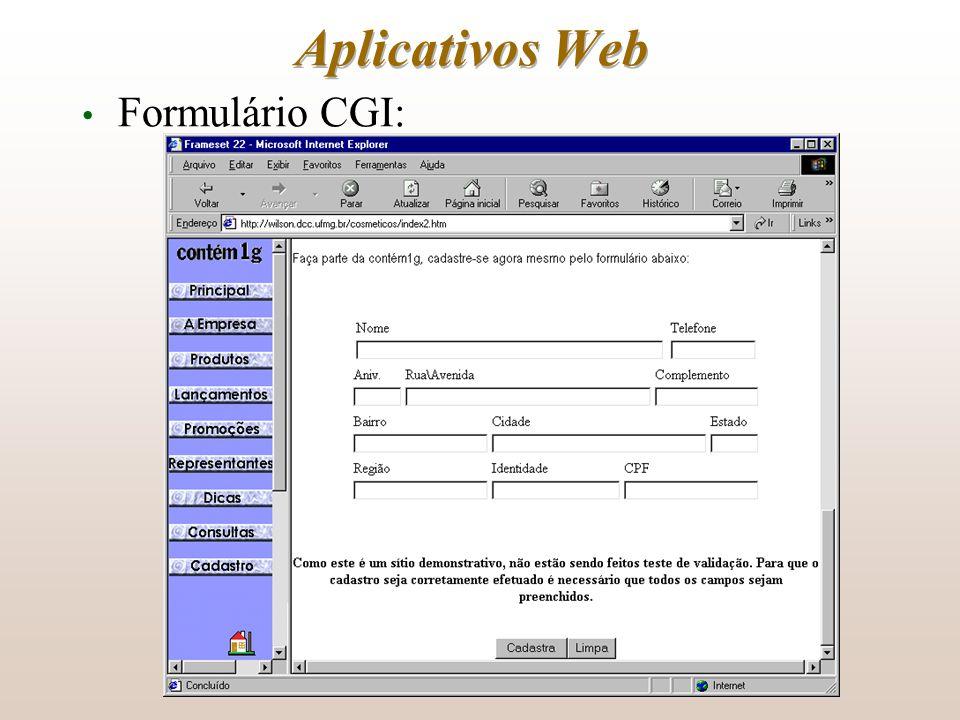 Aplicativos Web Formulário CGI: