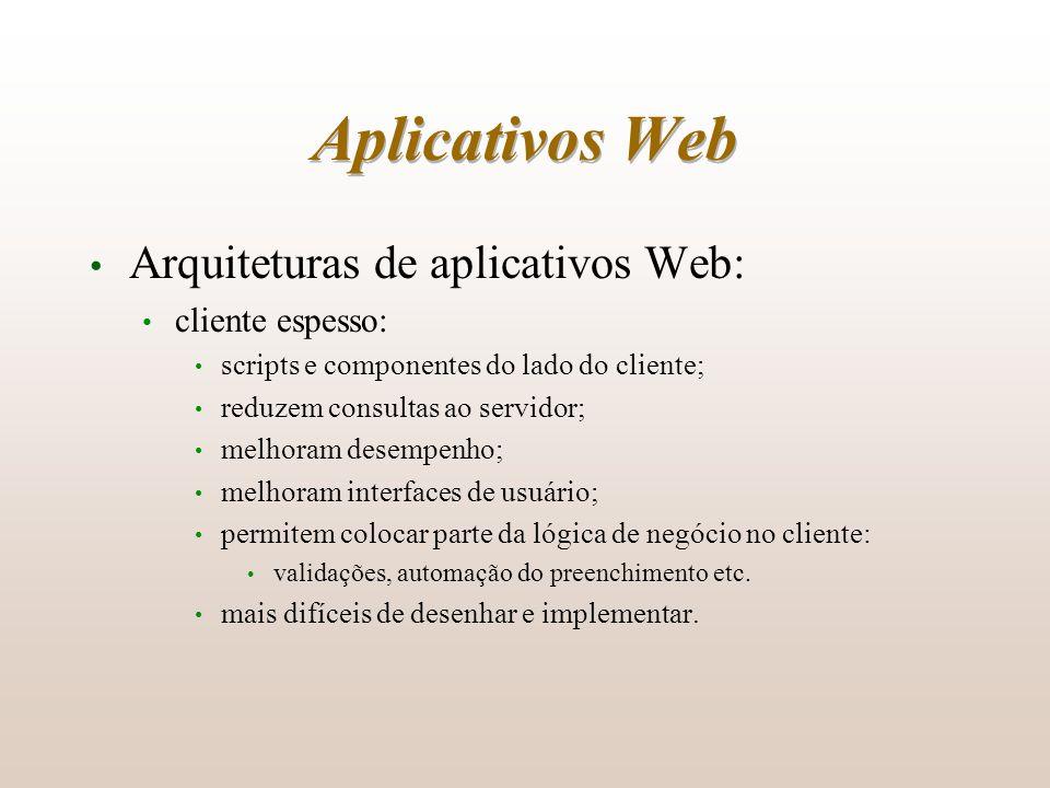 Aplicativos Web Arquiteturas de aplicativos Web: cliente espesso: