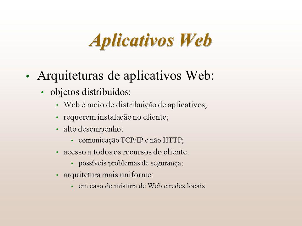 Aplicativos Web Arquiteturas de aplicativos Web: objetos distribuídos: